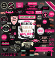 set of black friday labels and ribbons design set vector image