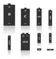 Set of different batteries vector image vector image