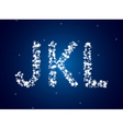 Snow letters over snow background vector image vector image