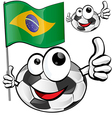 soccer ball cartoon with brazilian flag vector image