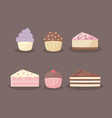 sweet and delicious cakes and cupcakes vector image vector image
