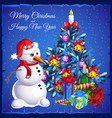template christmas card snowman near christmas vector image vector image