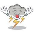 tongue out thunder cloud character cartoon vector image