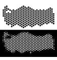 turkey map honeycomb scheme vector image vector image