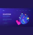 volunteering isometric 3d landing page vector image vector image