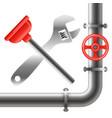 water pipe repair and maintenance vector image vector image