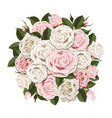 white and pink roses bouquet vector image