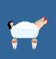 woman in bath is flying rocket turbine blast off vector image