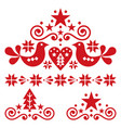 xmas scandinavian folk art design set vector image vector image