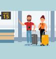 young couple in airport terminal tourists with vector image