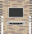 Wall brick with tv and game console hanging on it vector image