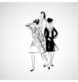 sketch girls in fashion clothes eps vector image