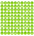 100 development icons set green vector image vector image