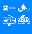 blue logos set label for mineral water aqua vector image