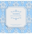 Blue Vintage Invitation Card with 3d Floral vector image vector image