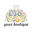 boutique bridal dress floral vibrant logo vector image