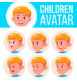 boy avatar set kid kindergarten face vector image