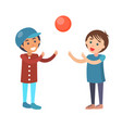 boys play in volleyball isolated vector image vector image