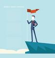 business triumph top flag point goal achievement vector image