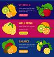 cartoon food with vitamin c banner horizontal set vector image