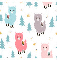christmas llamas pattern vector image vector image