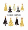 christmas trees hand drawing winter fir tree card vector image
