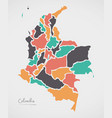 colombia map with states and modern round shapes vector image vector image