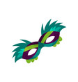 colorful face carnival mask with feathers vector image