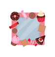 cute photo frame with sweets album template for vector image