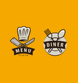 diner cooking logo or label menu design for cafe vector image