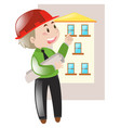 engineer holding blueprint of building vector image vector image