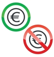 Euro permission signs vector image vector image