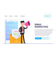 flat email marketing concept businessman or vector image