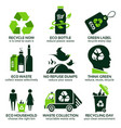 flat icon set for recycling vector image