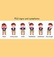 flu symptoms infographic disease cold flu or vector image