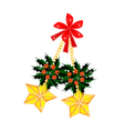 Golden Stars and Christmas Holly with Red Bow vector image vector image