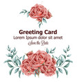 greeting card with roses flowers watercolor vector image vector image