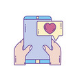 hands with smartphone chat love phone fill and vector image