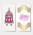 happy ramadan greeting card with beautiful lantern vector image
