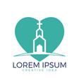 heart with church building logo design vector image