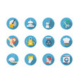 housework blue round icons set vector image