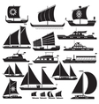 Icons motor and sailing yachts vector image