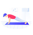 man doing plank exercise core workout exercising vector image vector image
