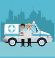 medical emergency at city vector image