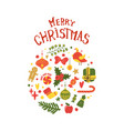merry christmas postcard frame mistletoe candies vector image