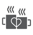 mugs with heart glyph icon drink and romance vector image