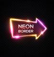 neon arrow pointer on dark transparent background vector image