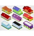 Nine isometric houses vector image
