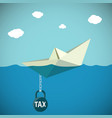 paper boat sinks in water kettlebell vector image vector image