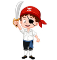 Pirate boy holding sword vector image vector image